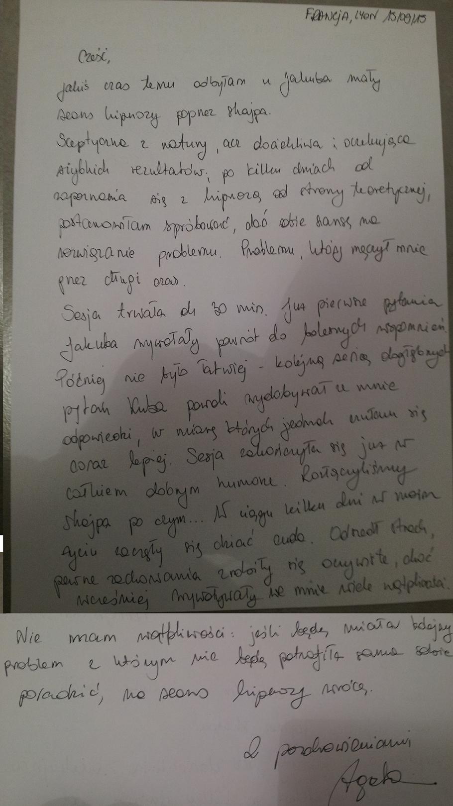 Agata hipnoterapia hipnoza opinia warszawa